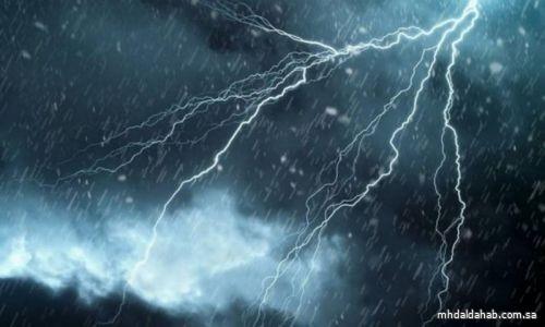"""""""الأرصاد"""": هطول أمطار رعدية متوسطة إلى غزيرة مصحوبة برياح نشطة على 6 مناطق"""